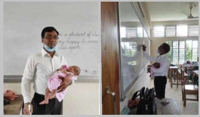 ছাত্রীর সন্তানকে কোলে নিয়ে ক্লাস নিলেন শিক্ষক
