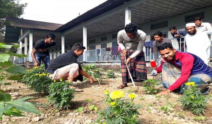 এমসি কলেজ ছাত্রাবাসের আঙিনায় ফুলের বাগান